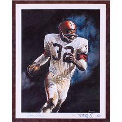 "Jim Brown  Ron Bailey Signed LE ""Running to Daylight"" 19x24 Lithograph (JSA COA)"