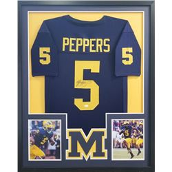 Jabrill Peppers Signed Michigan Wolverines 34x42 Custom Framed Jersey (JSA COA)