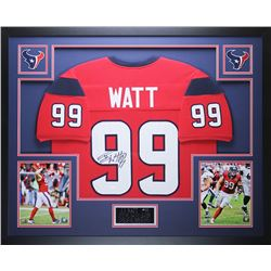 "J.J. Watt Signed Texans 35"" x 43"" Custom Framed Jersey (JSA COA)"