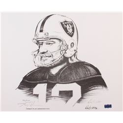 "Ken Stabler Signed Raiders Limited Edition 17"" x 14"" Lithograph by Daniel E. Wooten #/1150 (Stabler"