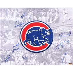 Cubs 16x20 Photo Signed by (10) with Jody Davis, Bill Madlock, Dwight Smith, Bob Deriner, Jerome Wal