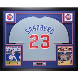 "Ryne Sandberg Signed Cubs 35"" x 43"" Custom Framed Jersey Inscribed ""HOF 05"" (JSA COA)"