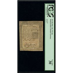 1773 Pennsylvania 16s Sixteen-Shillings Colonial Currency Note - March 20th, 1773 (PCGS 30, Fr# PA-1