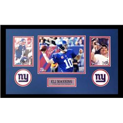 Eli Manning Signed Giants 16x26 Custom Framed Photo Display (Favre COA)