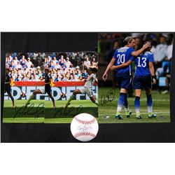 Lot of (4) Items Signed by Team USA Womans Soccer Players with (1) Hope Solo OML, (1) Abby Wambach 8
