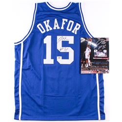 Lot of (2) Jahlil Okafor Signed Duke Blue Devils Items with (1) 8x10 Photo  (1) Jersey (Schwartz COA