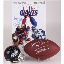 Lot of (3) Shawna Waldron Signed Football Items with (1) Giants Mini Football Helmet, (1)  Little Gi