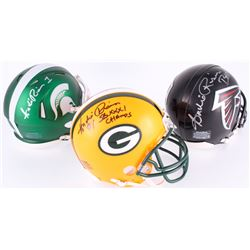 Lot of (3) Andre Rison Signed Mini-Helmets with (1) Packers, (1) Michigan State Spartans  (1) Falcon