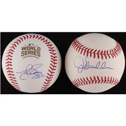 Lot of (2) Signed Baseballs with (1) Joe Maddon OML  (1) Matt Szczur Official 2016 World Series MLB