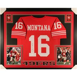 Joe Montana Signed 49ers 35x43 Custom Framed Jersey (JSA COA)