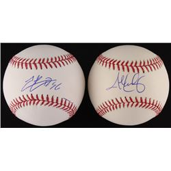 Lot of (2) Signed OML Baseballs with (1) Hector Rondon  (1) John Lackey (Schwartz COA)