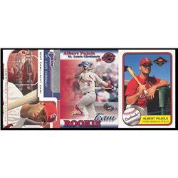 Lot of (3) Albert Pujols Rookie Cards with 2001 Fleer Game Time #121 NG RC #1070/2000, 2001 Donruss