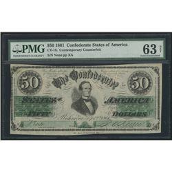 1861 $50 Fifty Dollars Contemporary Counterfeit Confederate States of America Richmond CSA Bank Note