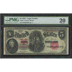 1907 $5 Five Dollars Legal Tender Red Seal Large Size Bank Note Bill (PMG 20)