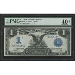 """1899 $1 One Dollar """"Black Eagle"""" Silver Certificate Large Size Bank Note Bill (PMG 40)(EPQ)"""