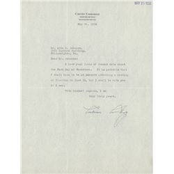 "Calvin Coolidge Signed Typed 1932 Letter Dated ""May 21, 1932"" (PSA LOA)"