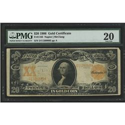 1906 $20 Twenty Dollars U.S. Gold Certificate Large Size Bank Note Bill (PMG 20)
