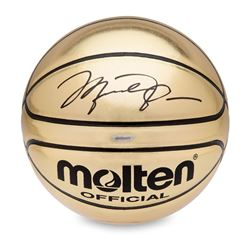 Michael Jordan Signed Molten Gold Trophy Basketball (UDA)