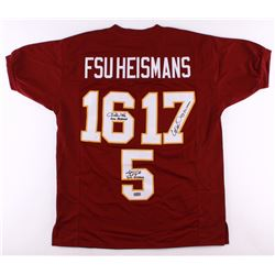 "Charlie Ward, Chris Weinke,  Jameis Winston Signed Florida State Seminoles ""FSU Heisman"" Jersey with"