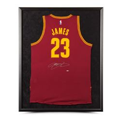 LeBron James Signed Cavaliers 32x38 Custom Framed Jersey (UDA)