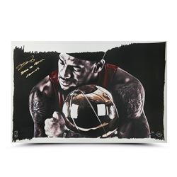 "LeBron James Signed ""Magic Moment"" 12x24 Limited Edition Print Inscribed ""Back To Back Champs"" (UDA)"