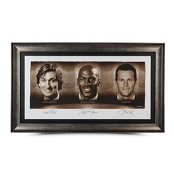 "Wayne Gretzky, Michael Jordan  Tom Brady Signed ""Faces of Sports"" 34x58 Custom Framed Limited Editio"