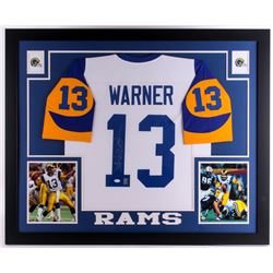 "Kurt Warner Signed Rams 35"" x 43"" Custom Framed Jersey (JSA COA  Warner Hologram)"