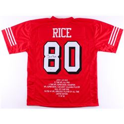 Jerry Rice Signed 49ers Career Highlight Stat Jersey (PSA COA)
