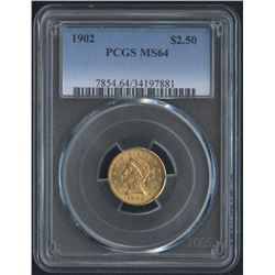 1902 $2.50 2 1/2 Dollar Liberty Head Gold Coin (PCGS MS 64)
