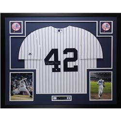 Mariano Rivera Signed Yankees 35x43 Custom Framed Jersey (Steiner COA)