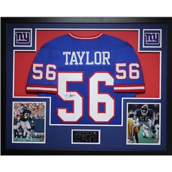 Lawrence Taylor Signed Giants 35x43 Custom Framed Jersey (JSA COA)