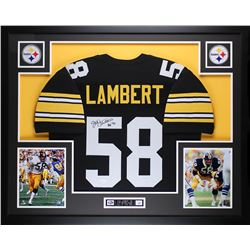 "Jack Lambert Signed Steelers 35"" x 43"" Custom Framed Jersey Inscribed ""HOF 90"" (JSA COA)"