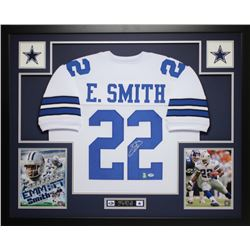 "Emmitt Smith Signed Cowboys 35"" x 43"" Custom Framed Jersey (PSA COA  Smith Hologram)"