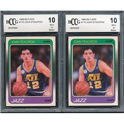 Lot of (2) 1988-89 Fleer #115 John Stockton RC (BCCG 10)