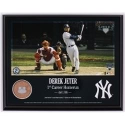 "Derek Jeter Yankees ""1st Career Homerun"" 8x10 Plaque with Game Used Dirt (Steiner COA  MLB)"