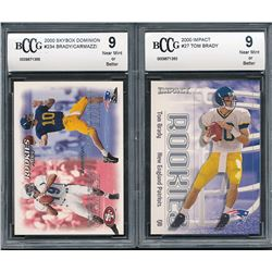 Lot of (2) BCCG 9 Tom Braded Rookie Cards with 2000 Impact #27 RC  2000 SkyBox Dominion #234 RC