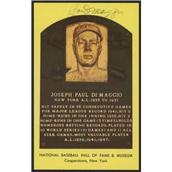 Joe DiMaggio Signed 3.5x5.5 HOF Plaque Card (JSA ALOA)