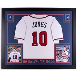 Chipper Jones Signed Braves 35x43 Custom Framed Jersey (PSA COA)