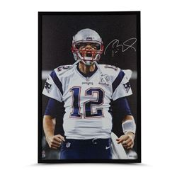 "Tom Brady Signed Patriots ""Up Close"" 24x36 Custom Framed Photo on Canvas (UDA)"