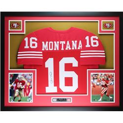 "Joe Montana Signed 49ers 35"" x 43"" Custom Framed Jersey (JSA COA)"