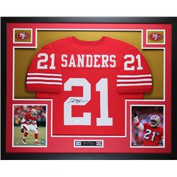 "Deion Sanders Signed 49ers 35"" x 43"" Custom Framed Jersey (JSA COA)"