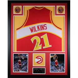 "Dominique Wilkins Signed Hawks 35"" x 43"" Custom Framed Jersey (JSA COA)"