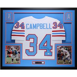 "Earl Campbell Signed Oilers 35"" x 43"" Custom Framed Jersey Inscribed ""HOF 91"" (JSA COA)"