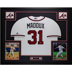 "Greg Maddux Signed Braves 35"" x 43"" Custom Framed Jersey Inscribed ""HOF 14"" (TriStar)"