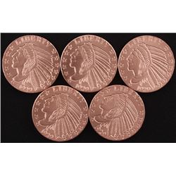 Lot of (5) 1 oz. .999 Fine Copper Incuse Indian Bullion Round