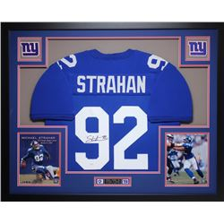 Michael Strahan Signed Giants 35x43 Custom Framed Jersey (JSA COA)
