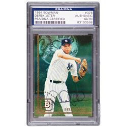 Derek Jeter Signed 1994 Bowman #376 Baseball Card (PSA Encapsulated)
