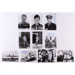 Lot of (10) WWII Veteran 5x7 Photos Signed by Herman Zahn, Thomas Costa, R.V. Stock, William Barney,