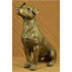 Signed Moigniez Life Size Jack Russell Terrier Dog Bronze Sculpture Statue Decor