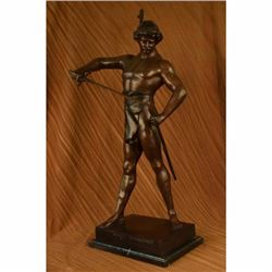 PAINTED SPELTER SCULPTURE POST PUGNAM PICAULT BRONZE STATUE MARBLE BASE FIGURE
